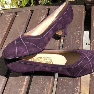 Purple suede Salvatore  Ferraragamo heels 7.5